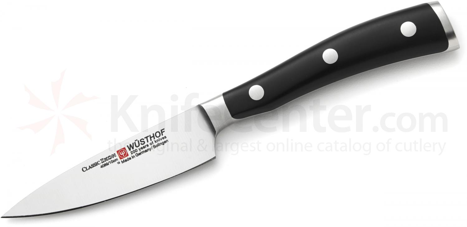 Wusthof Classic Ikon 4 inch Wide Paring Knife, Black (4089-7/10)