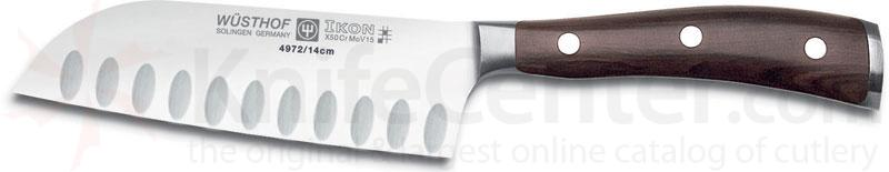 Wusthof Ikon 5 inch Santoku with Hollow Edge, Blackwood Handles