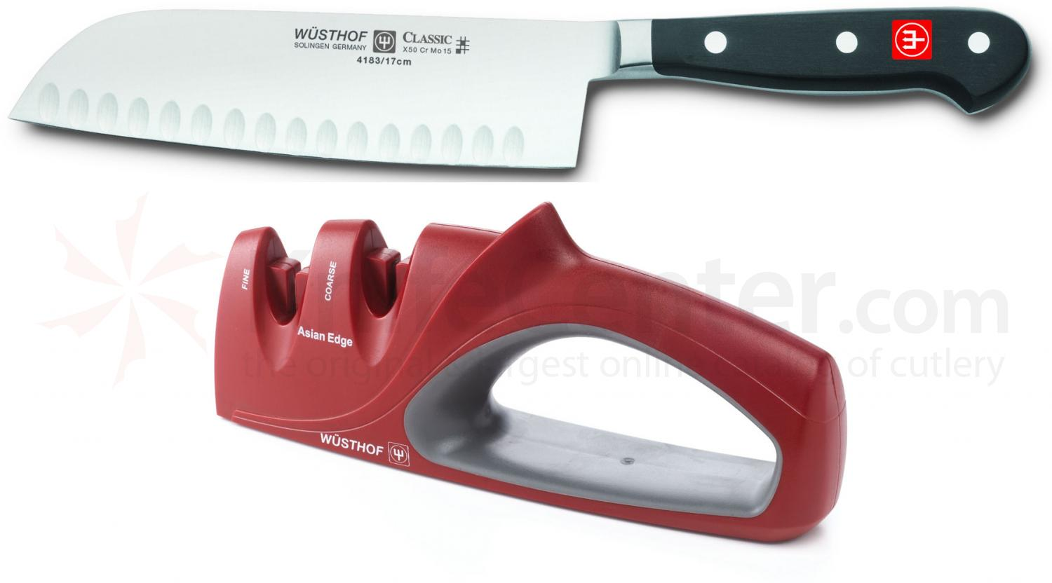 Wusthof Classic 7 inch Santoku and 2 Stage Knife Sharpener