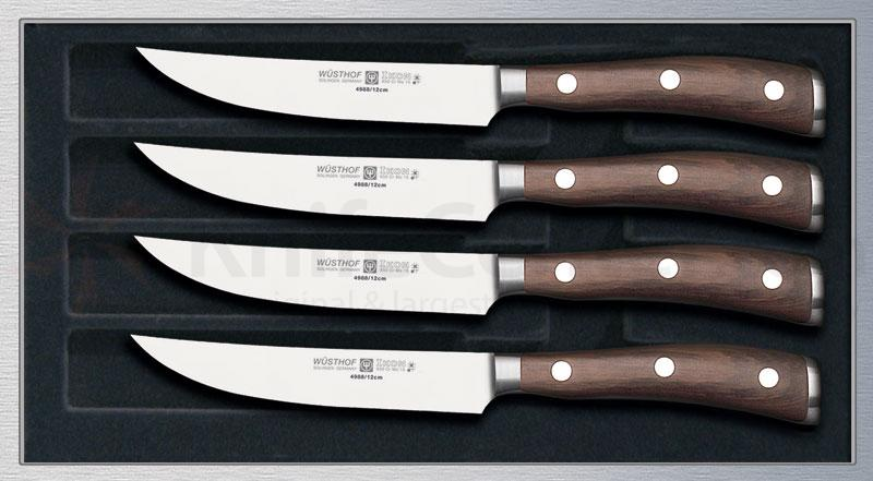Wusthof Ikon 4 Piece Steak Set in Walnut Chest, Blackwood Handles