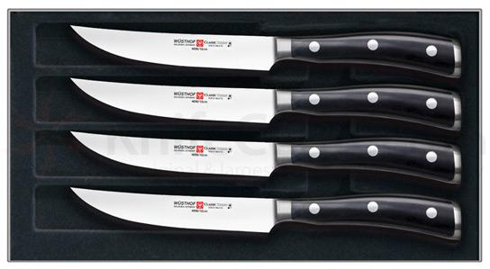 Wusthof Classic Ikon (Black) 4 Piece Steak Knife Set in Presentation Gift Box