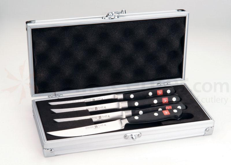 Wusthof Classic 4 Piece Steak Knife Set, Presentation Aluminum Chest