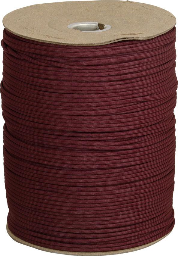 550 Paracord, Maroon, Nylon Braided, 1000 Feet Roll