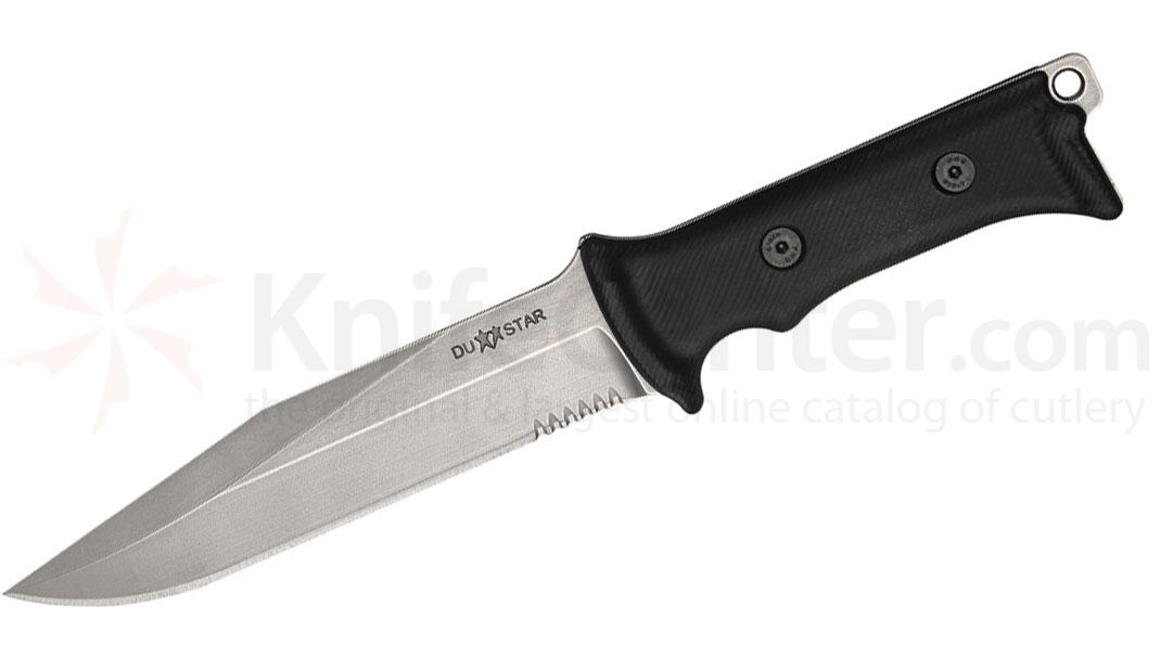 Dustar Model Dimona Combat Knife 6-1/2 inch Flat Gray D2 Combo Blade, Partinex Handles