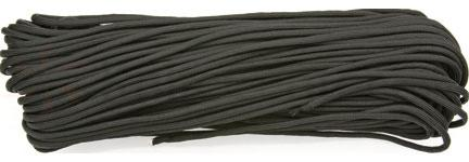 550 Paracord, Black, Nylon Braided, 100 Feet