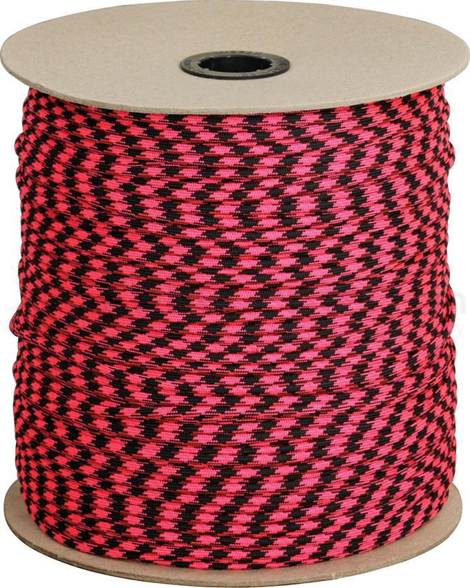 550 Paracord, Rosa Noche (Pink and Black), 1000 Foot Spool