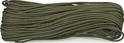 550 Paracord, OD Green, Nylon Braided, 100 Feet