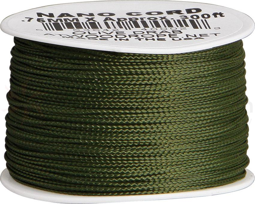 550 Nano Cord, OD Green, Nylon Braided, 300 Feet x 0.75 mm