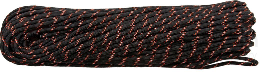 550 Paracord Black Reflective With Neon Orange Tracer