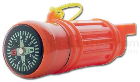 Survival Whistle Orange Plastic w/ Compass & Storage Compartment