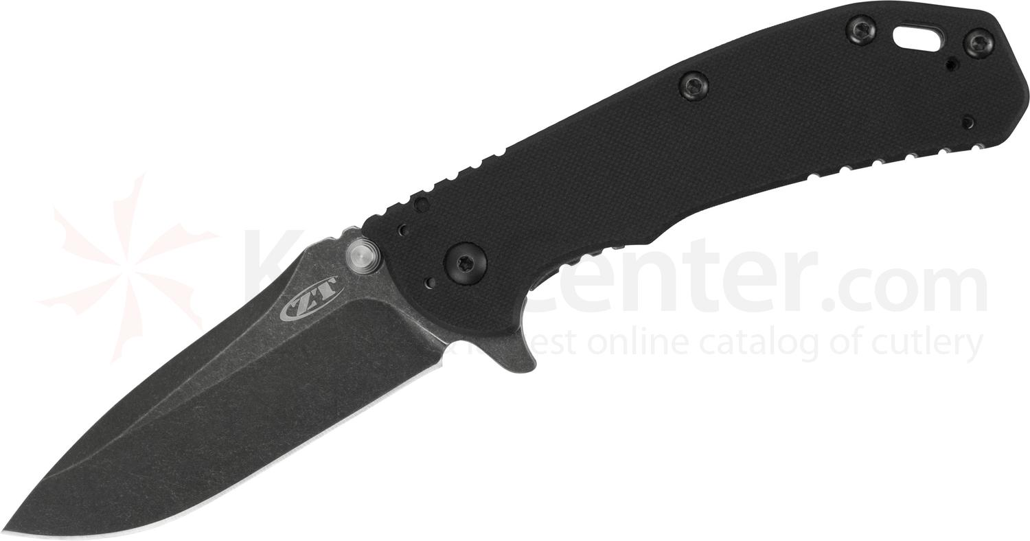 Zero Tolerance Hinderer 0566BW Assisted Flipper 3.25 inch S35VN Blackwash Blade, Black G10 with Stainless Steel Back Handle