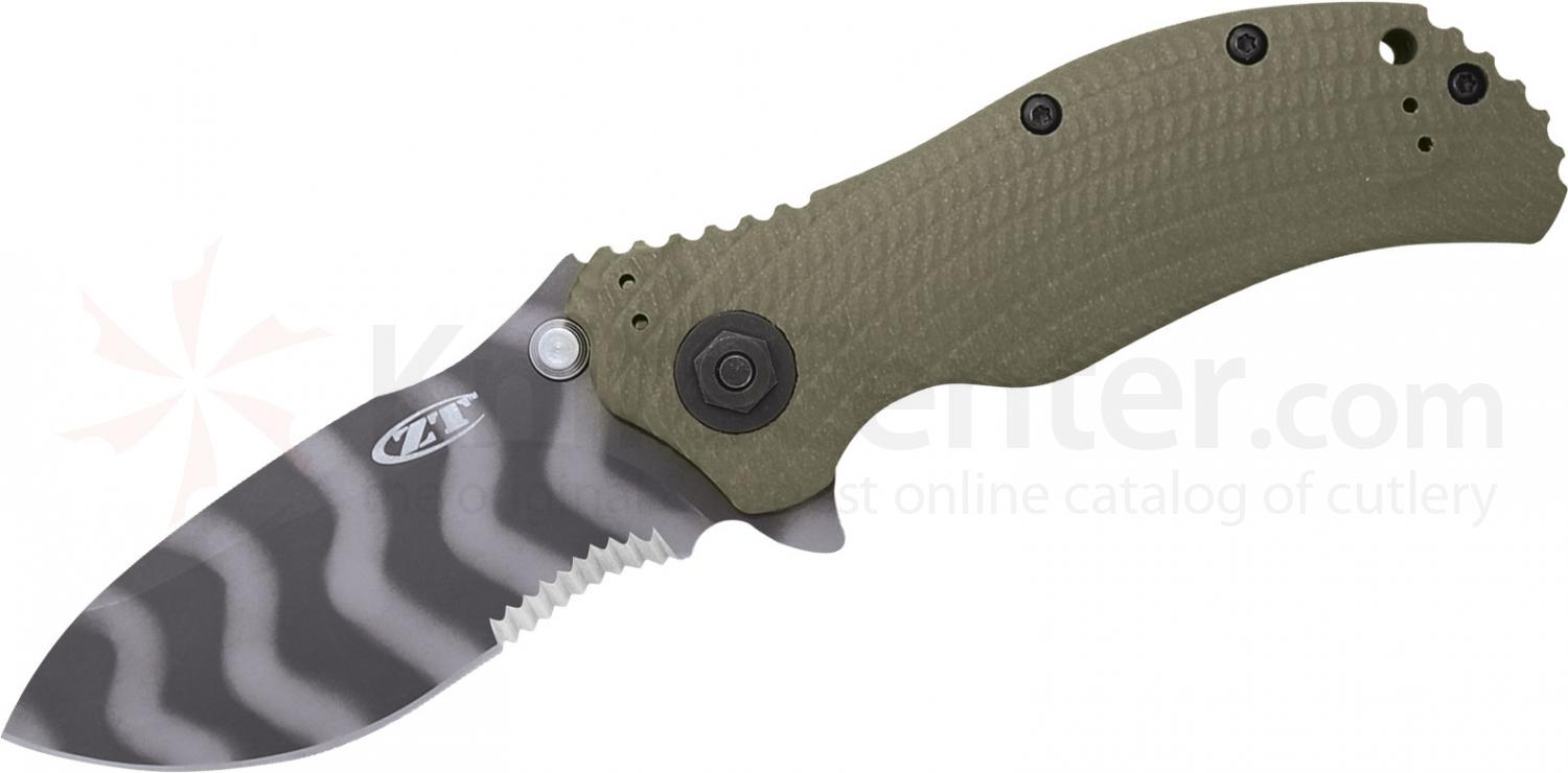 Zero Tolerance Model 0301ST Assisted 3-3/4 inch S30V Combo Blade, Ranger Green G10 and Titanium Back Handles