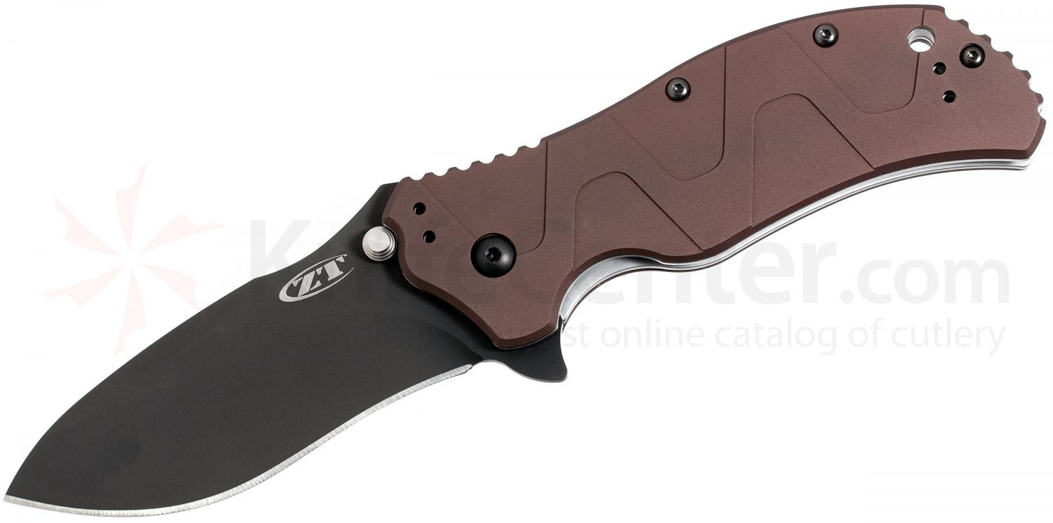 Zero Tolerance Model 0350BRN Assisted 3-1/4 inch S30V Plain Blade, Brown Aluminum Handles, Limited Edition