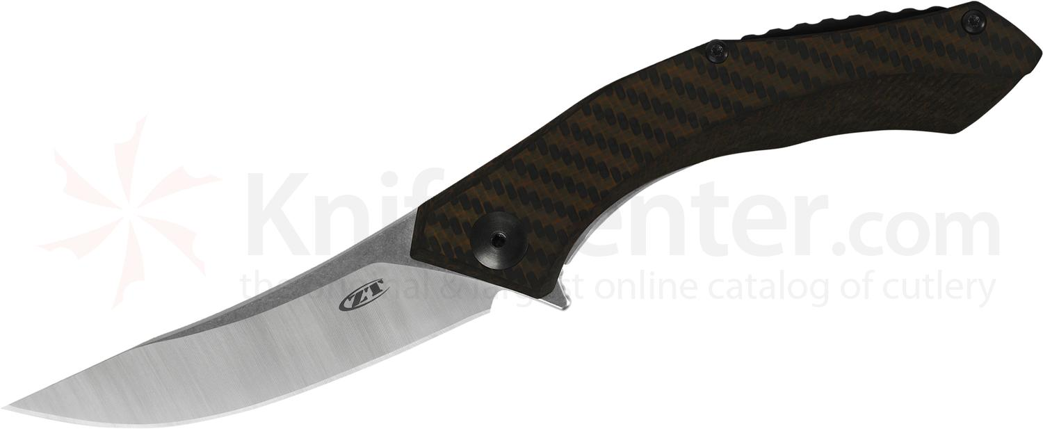 Zero Tolerance Dmitry Sinkevich 0460 Flipper 3.25 inch S35VN Two-Tone Blade, Bronze Carbon Fiber and Titanium Handles