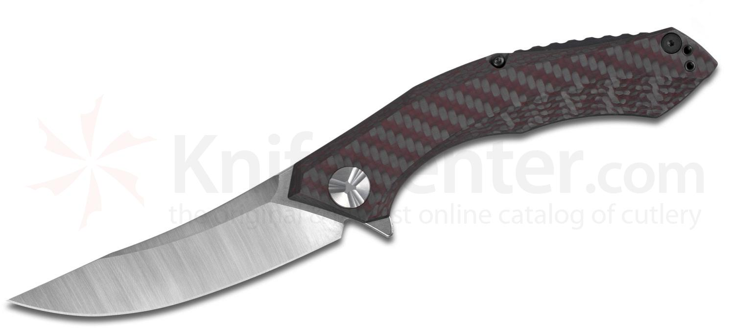 Zero Tolerance 0462 Dmitry Sinkevich Flipper Knife 3.75 inch CPM-20CV Two-Tone Blade, Red Carbon Fiber and Titanium Handles