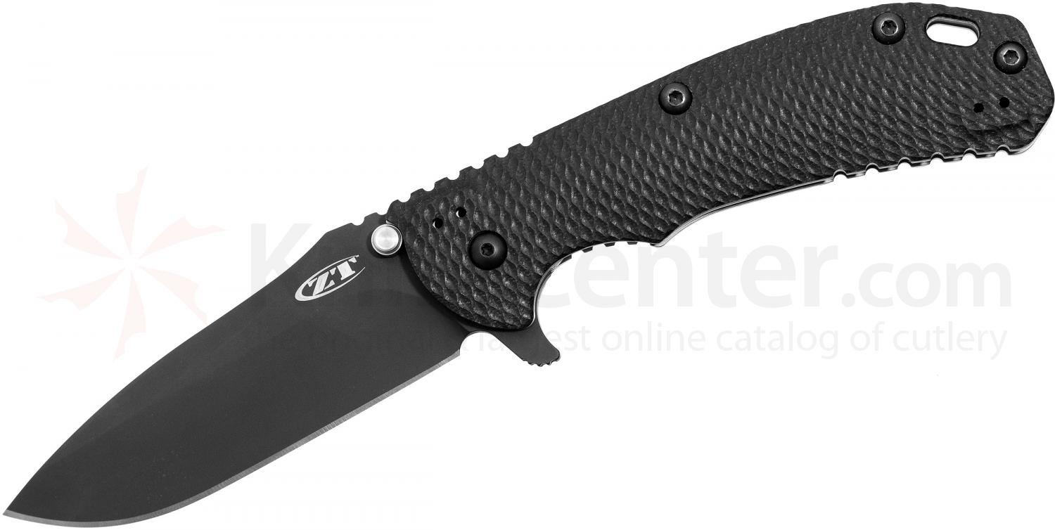Zero Tolerance Model 0560BLK Folding 3.75 inch ELMAX Black Blade, Black G10 and Titanium Handles