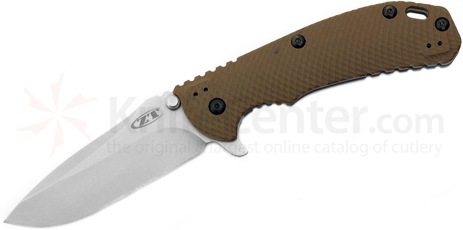 Zero Tolerance Model 0561 Folding Knife 3.75 inch ELMAX Stonewash Plain Blade, Flat Dark Earth G10 and Titanium Handles