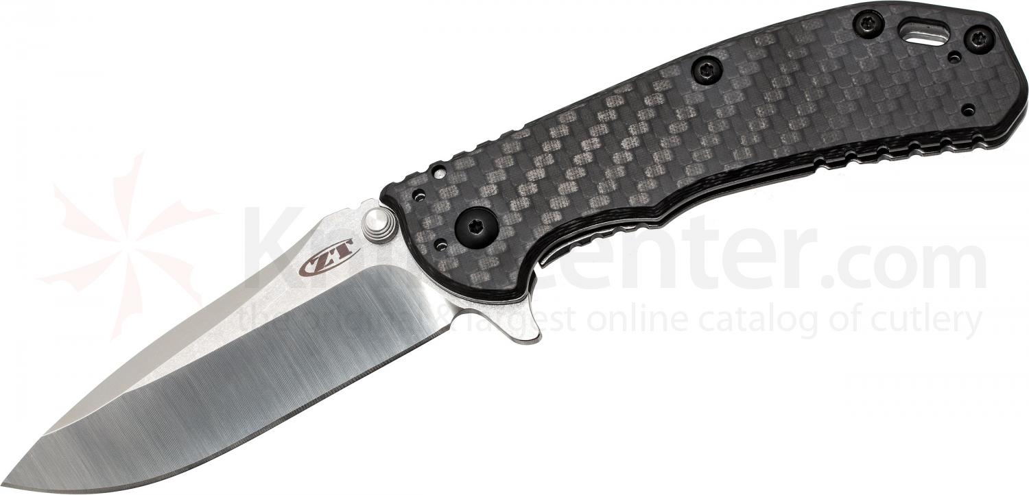 Zero Tolerance Hinderer 0566CFM390 Assisted 3.25 inch M390 Satin/Stonewash Blade, Carbon Fiber and Stainless Steel Handles