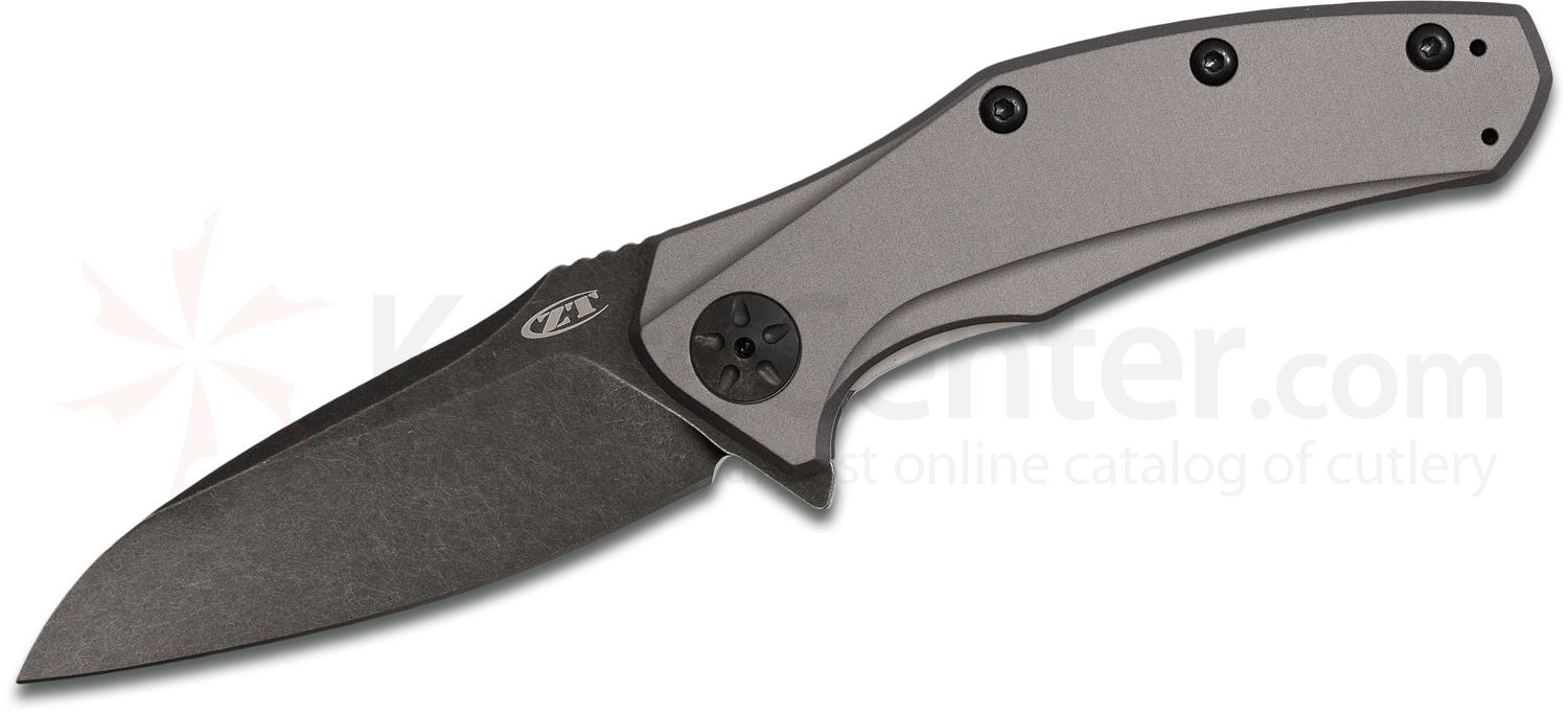 Zero Tolerance 0770GRYBW Assisted Flipper 3.25 inch S35VN Blackwashed Blade, Gray Anodized Aluminum Handles