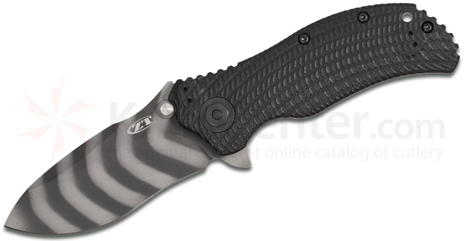 Zero Tolerance 0303 Assisted Flipper 3.75 inch S30V DLC Tiger Stripe Plain Blade, Black G10 and Titanium Back Handles