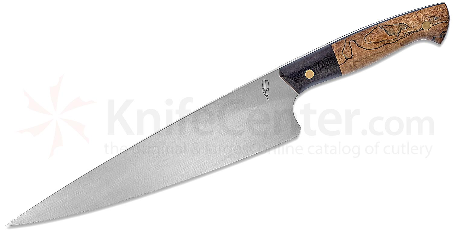 Michael Zieba Custom Master Chef's Knife 9.125 inch S60V Satin Blade, Curly Maple Wood and Black G10 Handles