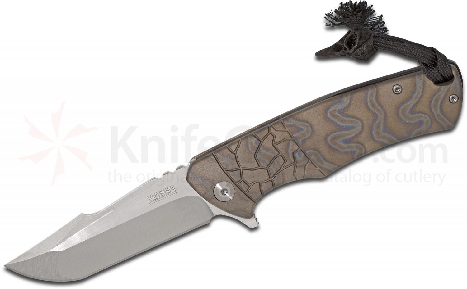 Michael Zieba Custom S4  inchAngry Bird inch Flipper 3.625 inch AEB-L Compound Tanto Blade, Flamed Titanium Handles, KnifeCenter Exclusive