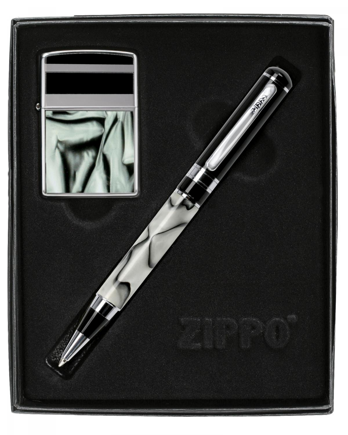 Zippo Gift Set Black Marbel Pattern High Polish Chrome / Pen