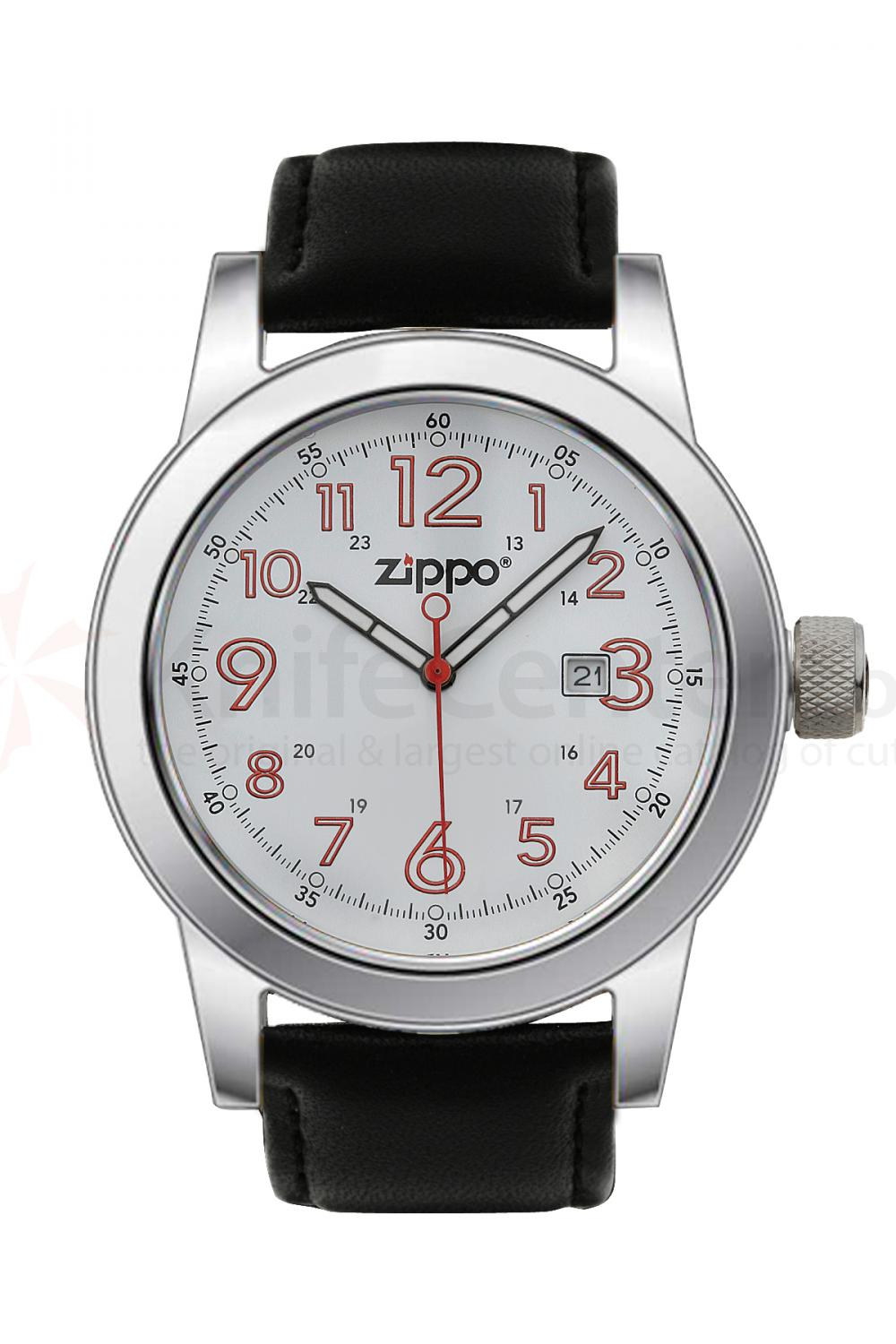 Zippo Watch White Face / Black Leather Band