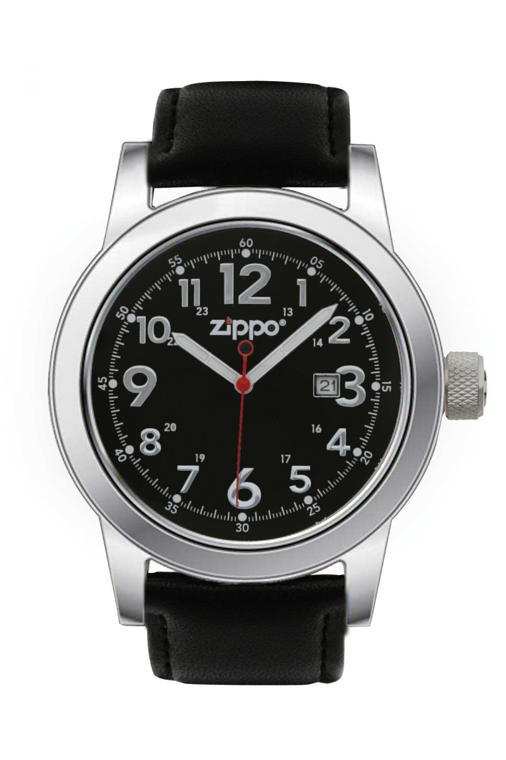 Zippo Watch Black Face / Black Leather Band