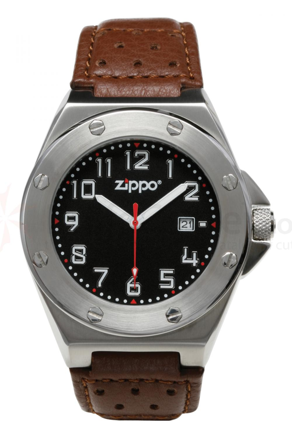 Zippo Watch Black Face / Brown Leather Band
