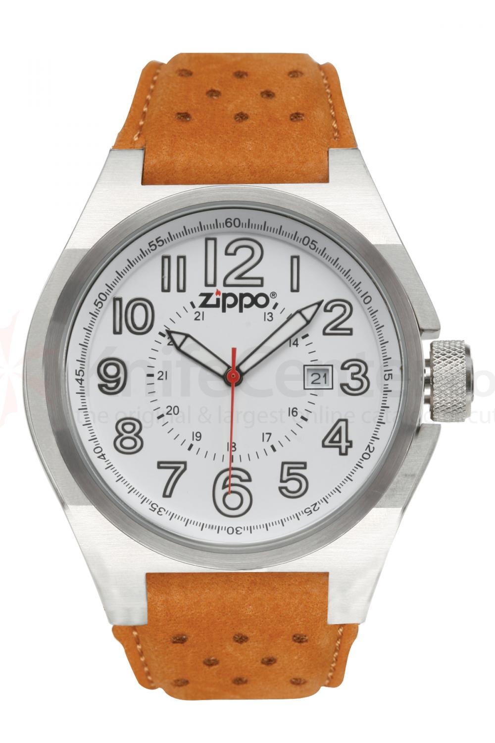 Zippo Watch White Face / Brown Leather Band