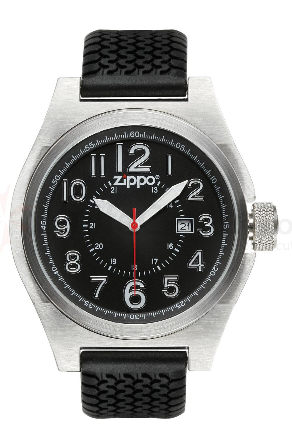Zippo Watch Black Face / Black Silicone Band