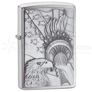 Zippo Something Patriotic Emblem, Brushed Chrome Classic