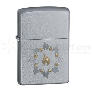 Zippo Satin Chrome Ring of Fire Classic