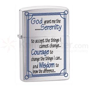 Zippo® Brushed Chrome, Serenity Prayer