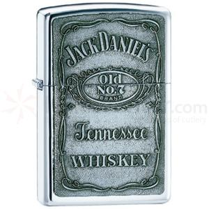 Zippo Jack Daniel's Label-Pewter Emblem, High Polish Chrome Classic
