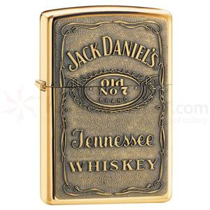 Zippo Jack Daniel's Label-Brass Emblem, High Polish Brass Classic