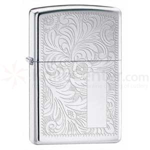 Zippo High Polish Chrome, Venetian Design
