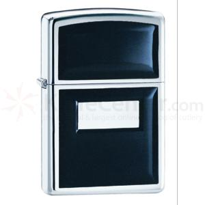 Zippo High Polish Chrome, Black Onyx Emblem, Engravable