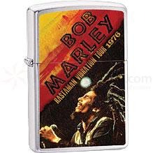 Zippo Bob Marley Lighter, Brushed Chrome, Rastaman Vibration Tour 1976