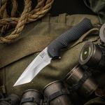 Walter Brend Handmade Knives Tanto Assisted Flipper 3.75 inch PSF27 Hand Ground Blade, Black Aluminum Handles
