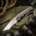 Walter Brend Handmade Knives Tanto Assisted Flipper 3.75 inch PSF27 Hand Ground Blade, Green Aluminum Handles