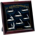 Case Small Cherry Wood Countertop Display Case 13 inch x 13 inch x 2 inch, Knives Not Inlcuded