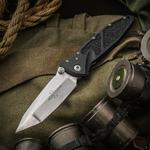 Marfione Custom Knives Socom Elite Prototype 4 inch M390 Two-Tone Tanto Blade, Aluminum Handles with Rubber Traction Inlays