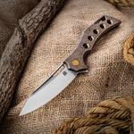 Olamic Cutlery Mid-Tech Swish Flipper 3.75 inch Satin Elmax Blade, Bronze Stonewashed Hole Milled Titanium Handles