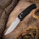 Pro-Tech 1140 Brend Design AUTO #1 Folding Knife 4.75 inch 154CM Satin Plain Blade, Black Knurled Aluminum Handles with Safety, Nylon Pouch
