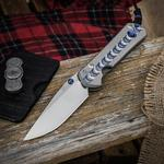 Chris Reeve Large Sebenza 21 Unique Graphic Folding Knife 3.625 inch S35VN Blade, CGG Titanium Handles with Blue Star Sapphire Cabochon  Inlay
