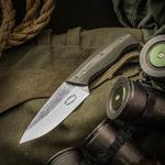 SK Knives Steven Kelly Custom Ranger Fixed 3.75 inch 52100 Two-Tone Blade, Green Linen Micarta Handles, Leather Sheath