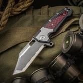 Andre De Villiers Knives Customized Beast Freak Flipper 3.75 inch S35VN Clip Point Tanto Simulated Hamon Blade, Milled Titanium Handles with C-Tek Inlay
