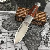 Andre De Villiers Knives Impi Slipjoint Folding Knife 3 inch D2 Spear Point Blade, Stainless Steel Handles with Rosewood Inlays